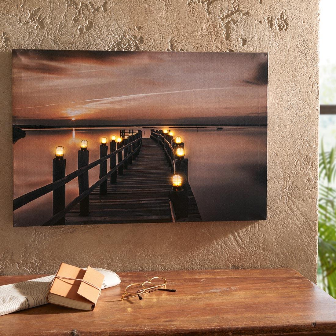 Картина со светодиодной подсветкой Закат декор ковка на холсте um