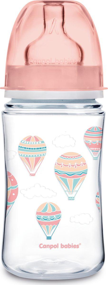 Бутылочка для кормления Canpol Babies In the Clouds EasyStart, антиколиковая, с широким горлышком, 3+ месяцев, розовый, 240 мл цена
