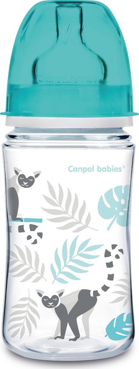Бутылочка для кормления Canpol Babies Jungle EasyStart, антиколиковая, с широким горлышком, 3+ месяцев, серый, 240 мл цена