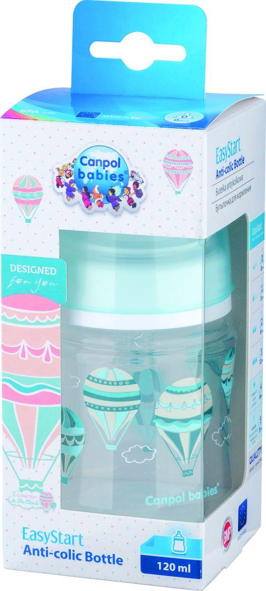 Бутылочка для кормления Canpol Babies In the Clouds EasyStart, антиколиковая, с широким горлышком, 0+ месяцев, голубой, 120 мл