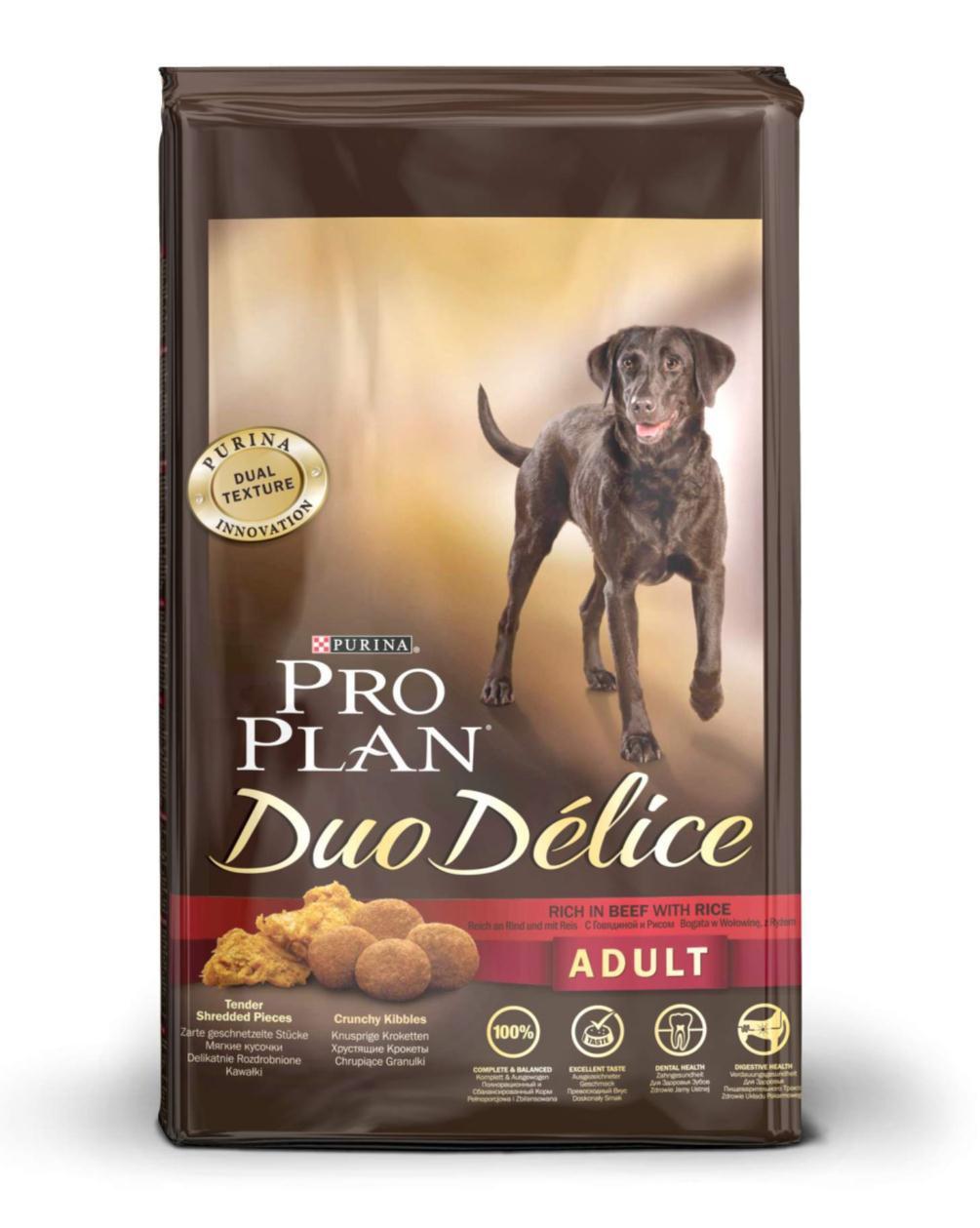 Purina Pro Plan Duo Delice сухой корм для взрослых собак всех пород, говядина и рис (2,5 кг)