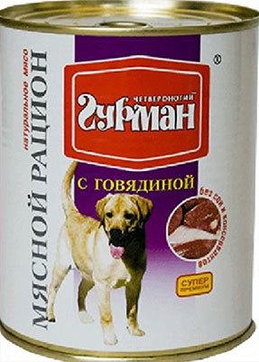 Четвероногий Гурман консервы для взрослых собак всех пород, с Говядиной (340 гр) консервы четвероногий гурман паштет с говядиной для кошек 190г