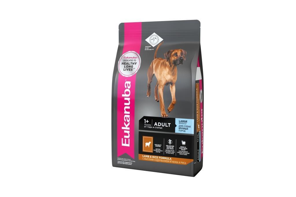 Eukanuba корм для взрослых собак крупных пород, ягненок (12 кг) корм для собак крупных пород barking heads ягненок 12 кг