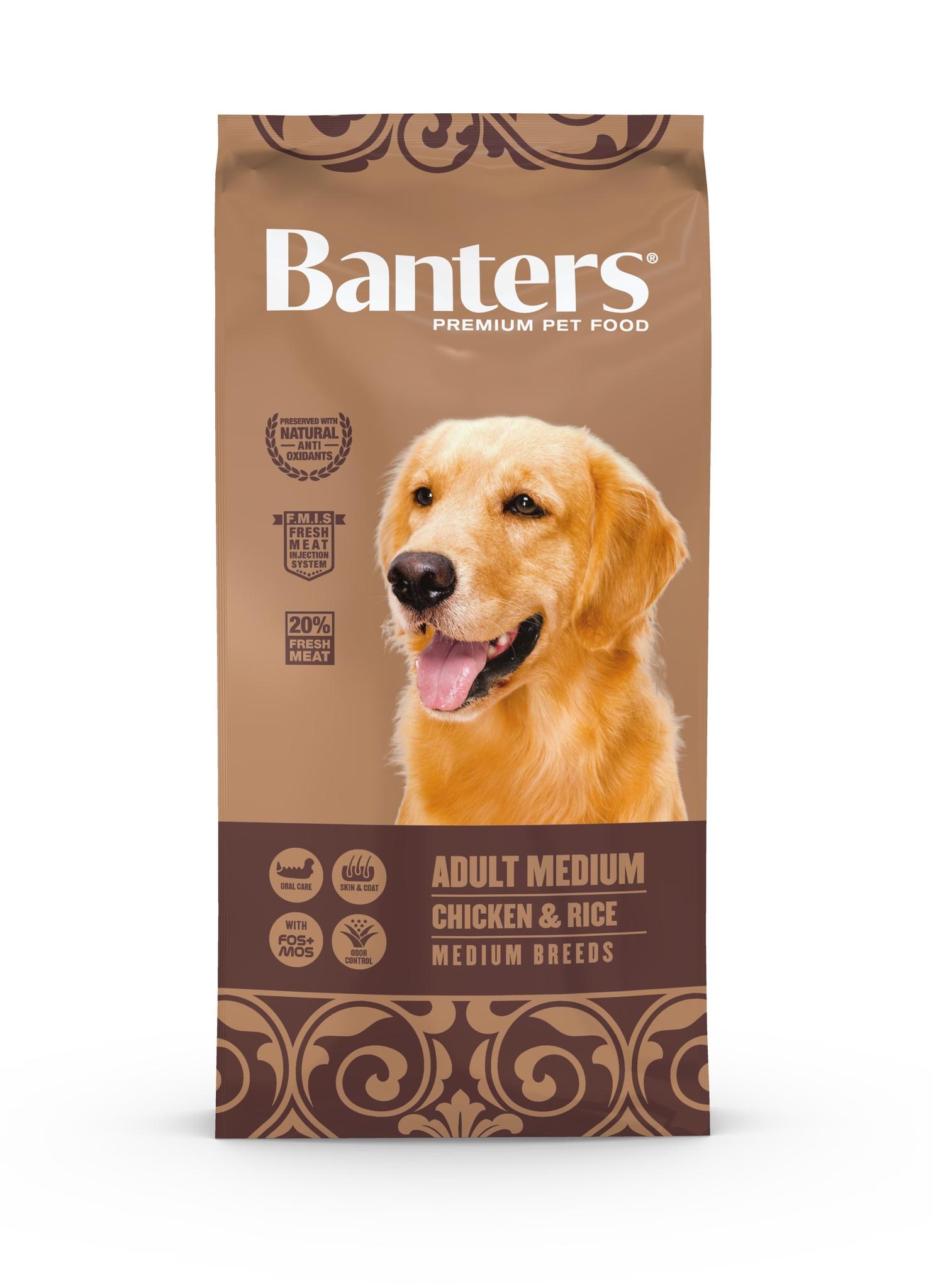 Banters корм для взрослых собак средних пород, полнорационный, курица и рис (15 кг)