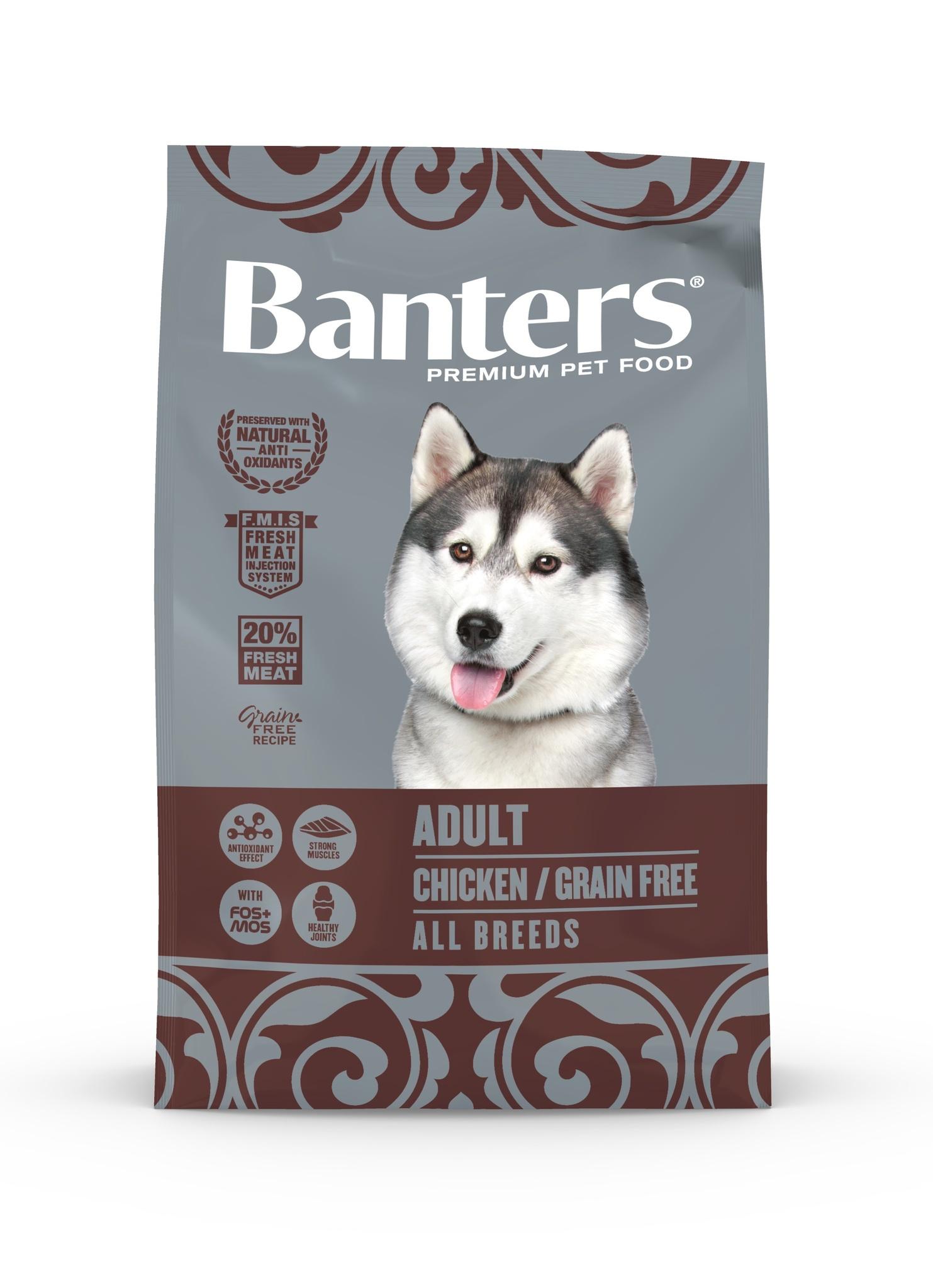 Banters корм для взрослых собак всех пород, беззерновой, деликатное пищеварение, курица (15 кг)