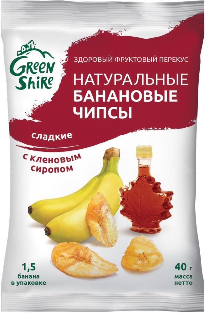 GreenShire 4602309117234 Банановые чипсы Сладкие С кленовым сиропом бордо