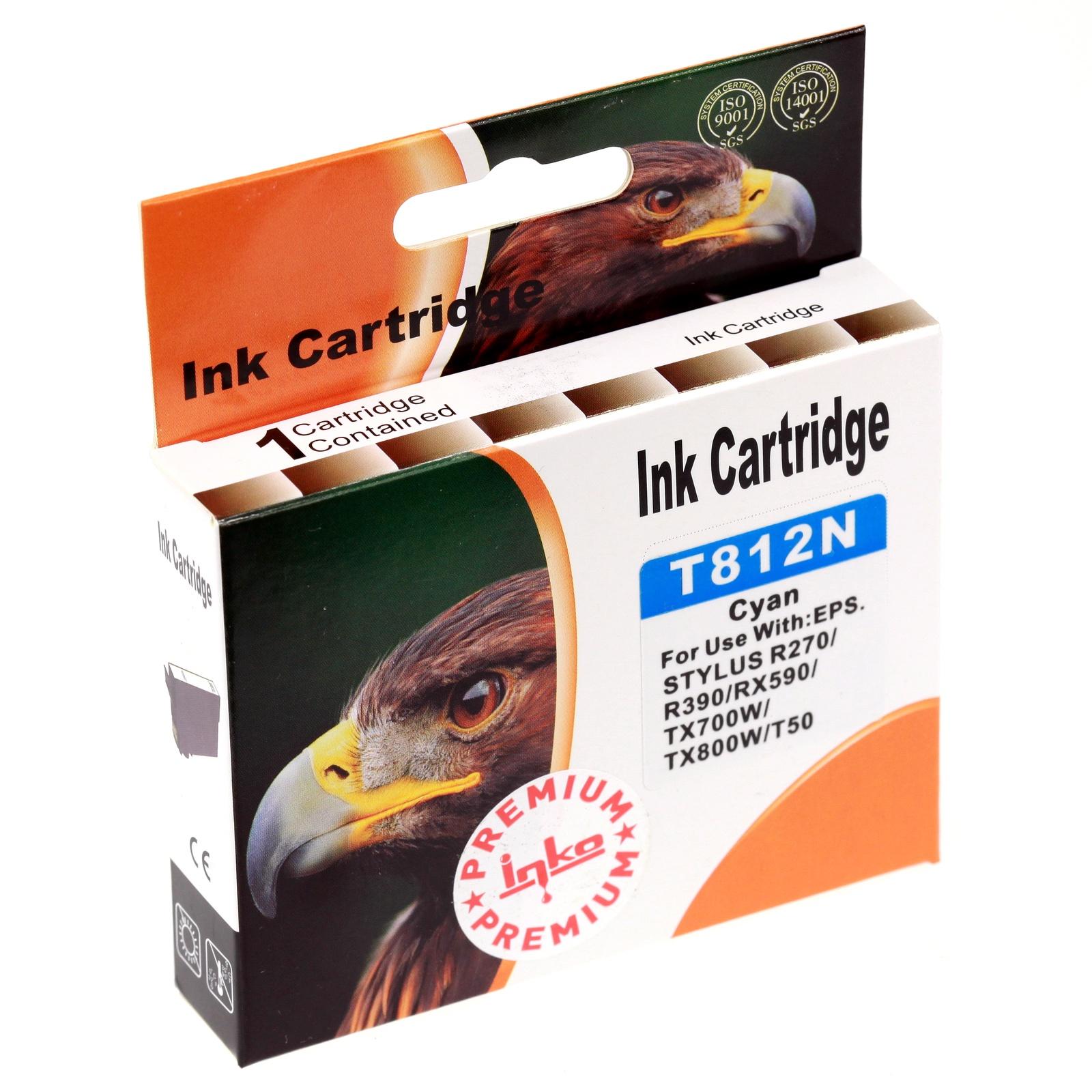 Картридж Inko T812N для Epson Stylus Photo R270, R290, T50, TX650 голубой повышенной емкости цена 2017