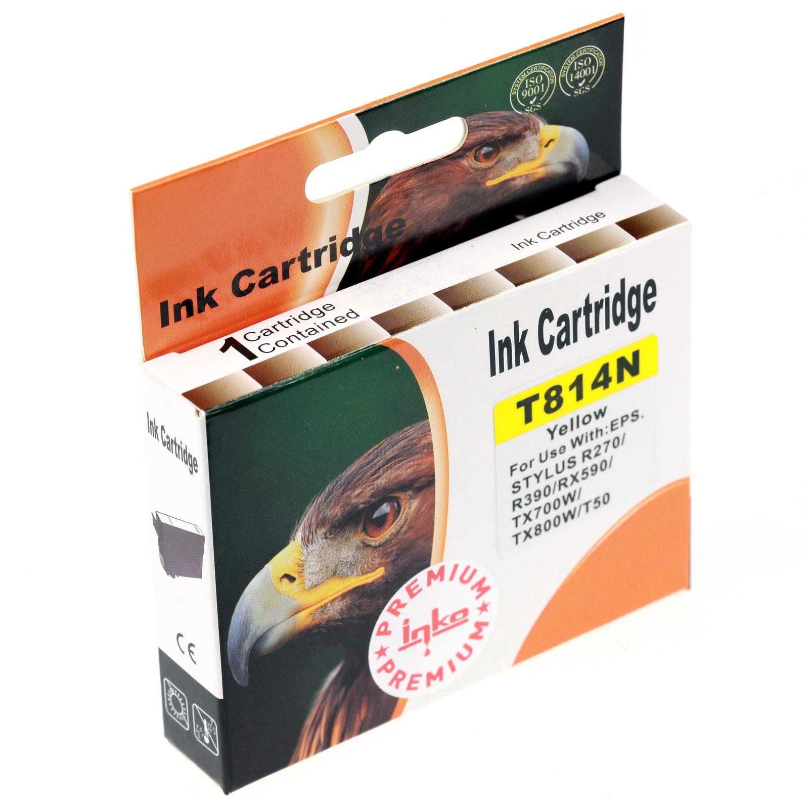 Картридж Inko T814N для Epson Stylus Photo R270, R290, T50, TX650 желтый повышенной емкости цена 2017