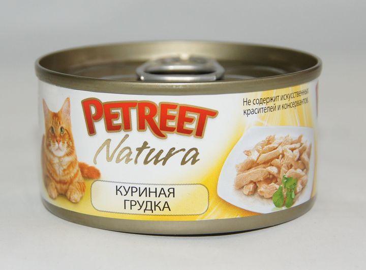 Petreet консервы для взрослых кошек всех пород, куриная грудка (70 гр)