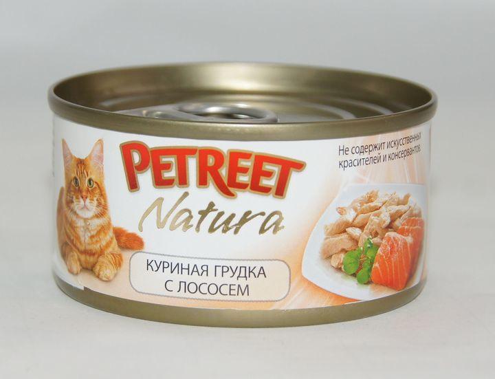 Petreet консервы для взрослых кошек всех пород, куриная грудка с лососем (70 гр)