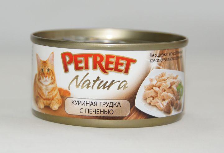 Petreetконсервы для взрослых кошек всех пород, куриная грудка с печенью (70 гр)