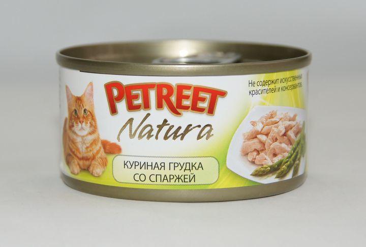 Petreet консервы для взрослых кошек всех пород, куриная грудка со спаржей (70 гр)