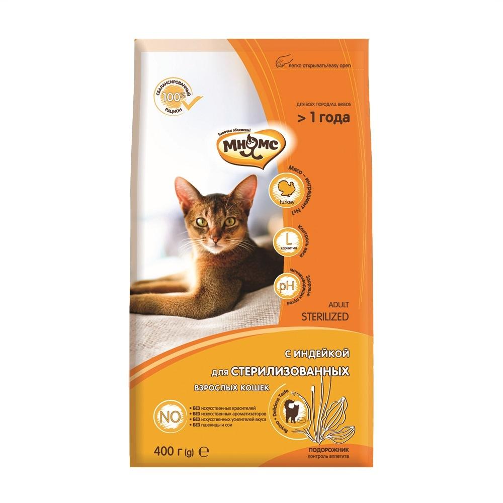 Мнямс корм для взрослых стерилизованных кошек всех пород, курица и индейка (1,5 кг)