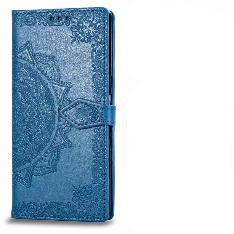 Чехол-книжка MyPads для Sony Xperia 10 Plus с мульти-подставкой застёжкой и визитницей с загадочными узорами синий