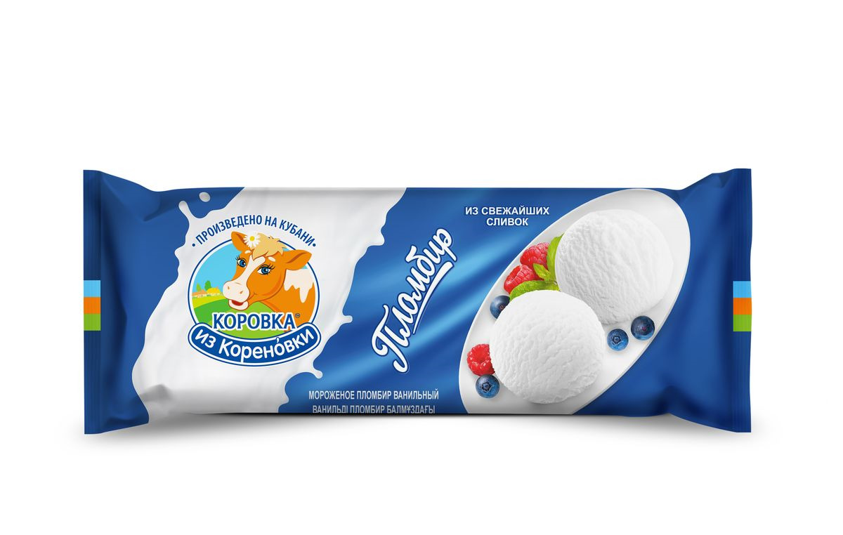 Мороженое Коровка из Кореновки Пломбир ванильный из натуральных сливок, полено, 400 г цены