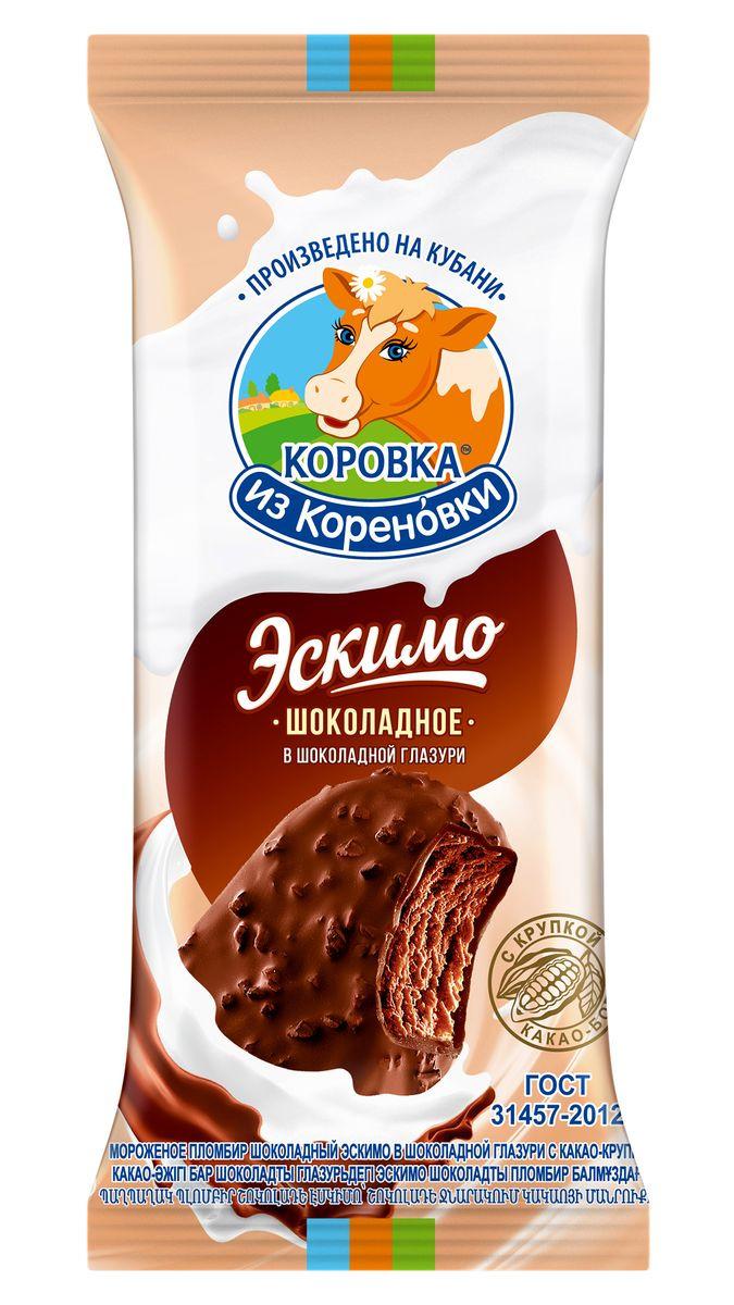 Мороженое Коровка из Кореновки Пломбир шоколадный в шоколадной глазури с какао-крупкой, эскимо, 70 г пудовъ мороженое домашнее клубничное 70 г
