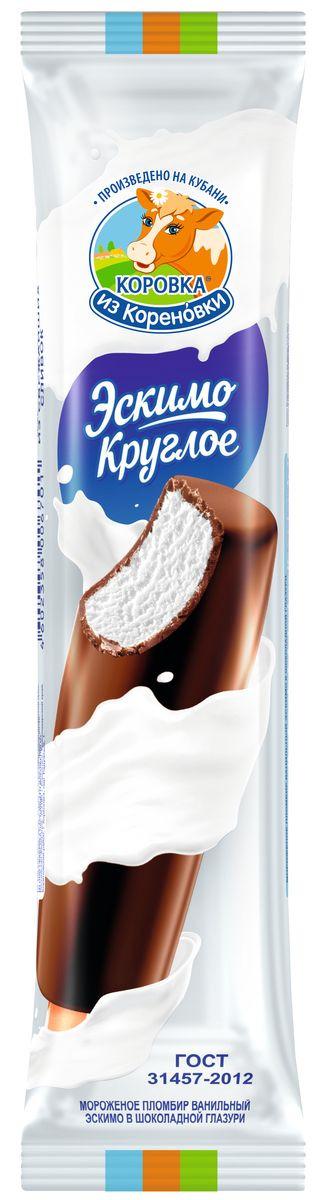 Мороженое Коровка из Кореновки Пломбир ванильный в шоколадной глазури, эскимо круглое, 70 г пудовъ мороженое домашнее клубничное 70 г