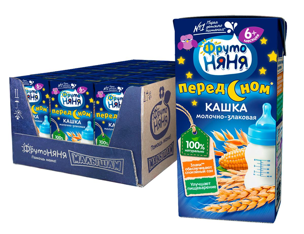 Каша для детей ФрутоНяня, молочно-злаковая, гречнево-кукурузно-рисовая, готовая, 18 шт по 200 мл