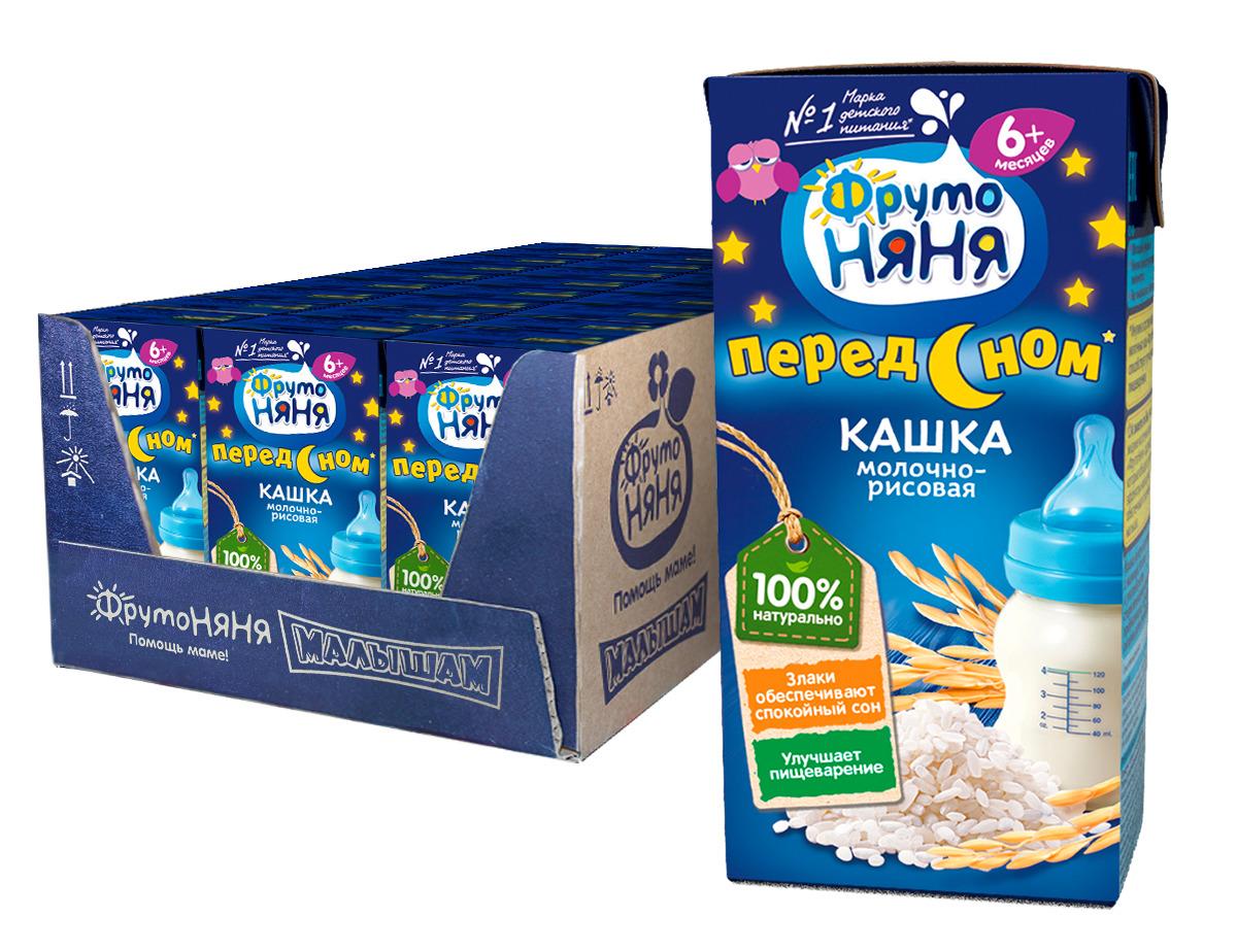 Каша для детей ФрутоНяня, молочно-рисовая, готовая, 18 шт по 200 мл
