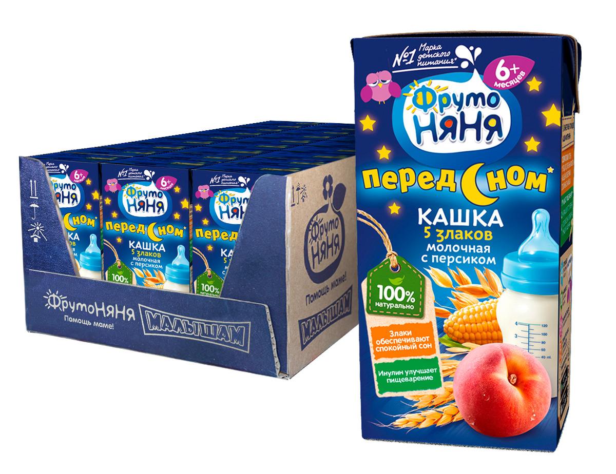 Каша для детей ФрутоНяня, молочная из пяти злаков с персиком, готовая, 18 шт по 200 мл