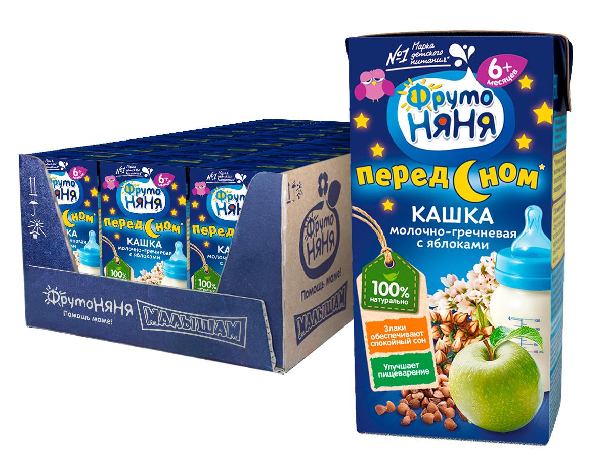 Каша для детей ФрутоНяня, молочно-гречневая с яблоками, готовая, 18 шт по 200 мл