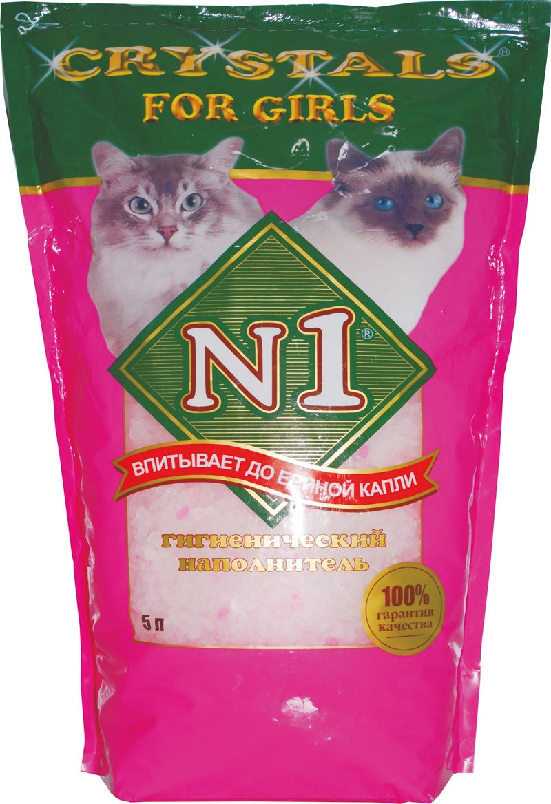 N1 Силикагелевый наполнитель для Кошечек: Розовый Кристалс №1, (Crystals № 1) (12,5 л)