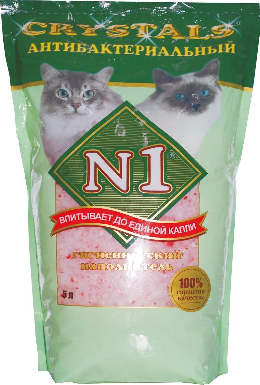 N1 Силикагелевый антибактериальный наполнитель: Зеленый Кристалс №1, (Crystals № 1) (5 л)