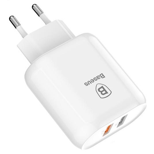 Сетевое зарядное устройство быстрое QC 3.0 2xUSB Baseus Bojure Series Dual-USB - Белое (CCALL-AG02)