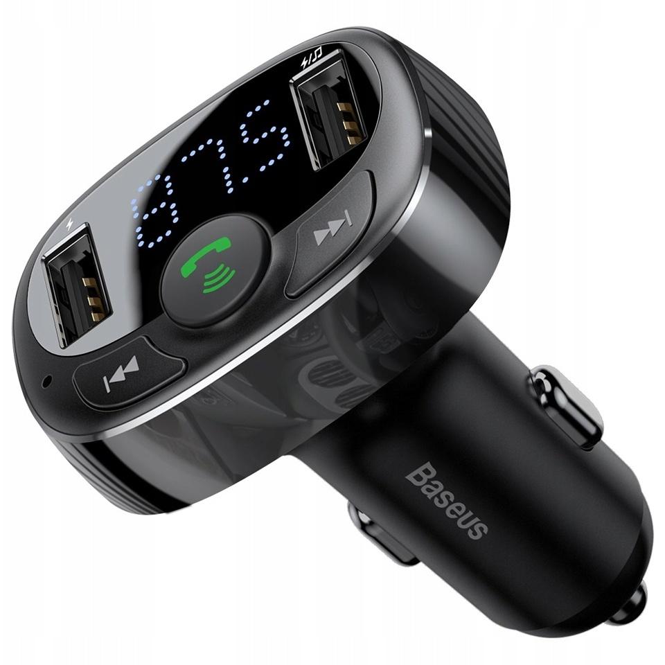 Автомобильное зарядное устройство с FM-трансмиттером 2xUSB Baseus T typed Bluetooth MP3 - Черное (CCTM-01)