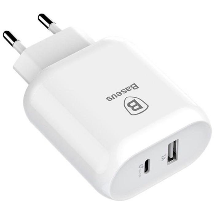 Сетевое зарядное устройство быстрое PD USB+USB Type-C Baseus Bojure Series - Белое (CCALL-BG02) сетевое зу samsung ep ta300 usb type c быстрое белое