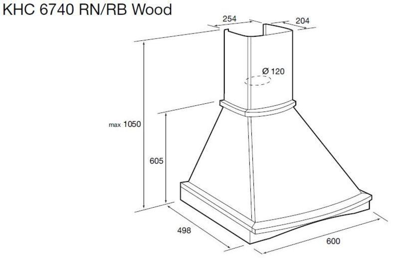 Купольная вытяжка Korting KHC 6740 RN Wood Korting