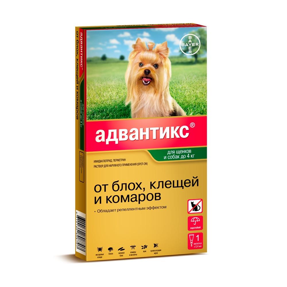 Bayer Golden Line Адвантикс 40С Капли для щенков и собак от клещей, блох и комаров (массой до 4 кг) (4 пипетки) капли цитодерм дерматологические для улучшение кожи и шерсти для собак 10 30 кг 4 пипетки