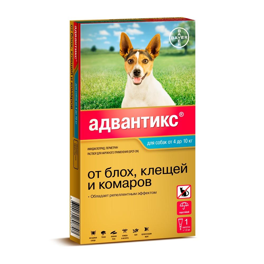 Bayer Golden Line Адвантикс 100С Капли для щенков и собак от клещей, блох и комаров (массой от 4 кг до 10 кг) (4 пипетки) капли цитодерм дерматологические для улучшение кожи и шерсти для собак 10 30 кг 4 пипетки