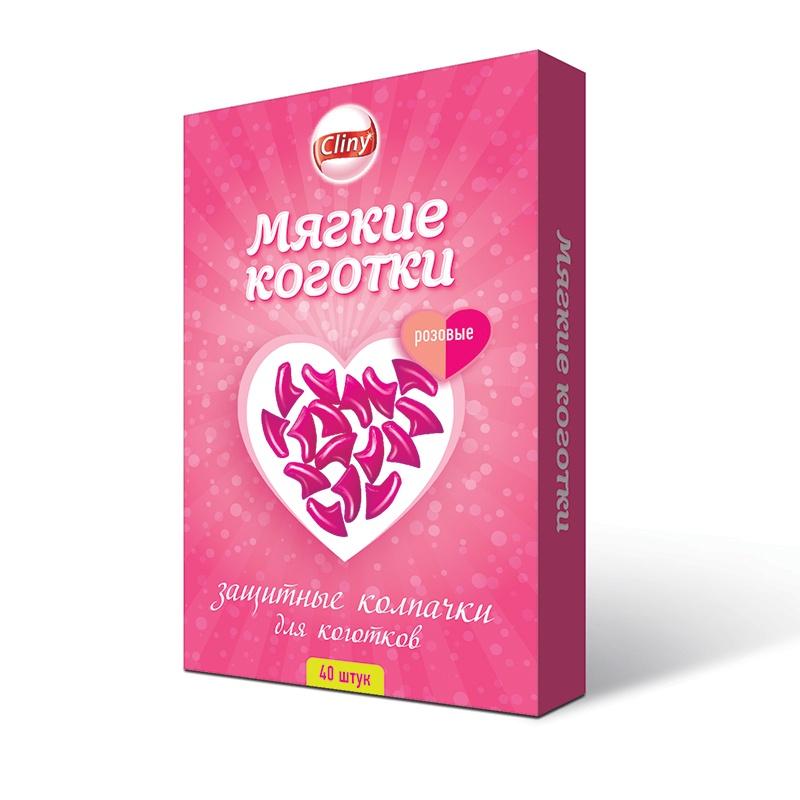 Cl Мягкие коготки розовые 40шт (18 гр)