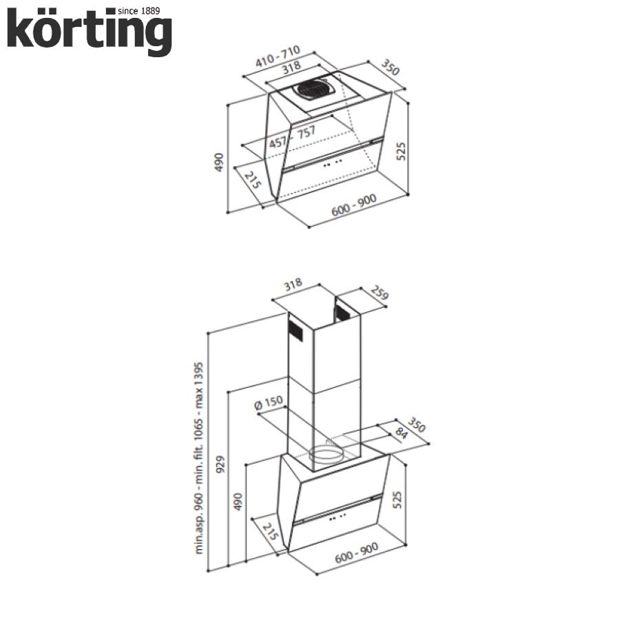 Наклонная вытяжка Korting KHC 69080 GB Korting