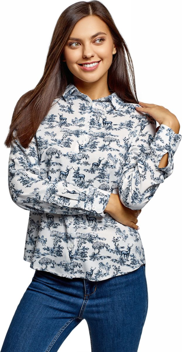 Фото - Блузка oodji Ultra блузка женская oodji collection цвет светло зеленый белый 21412132 2b 24681 6010g размер 44 170 50 170