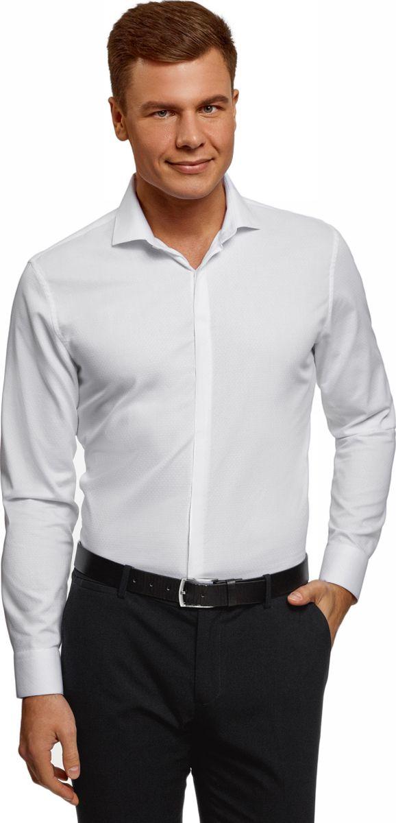 Рубашка oodji рубашка с рисунком в горошек и длинными рукавами