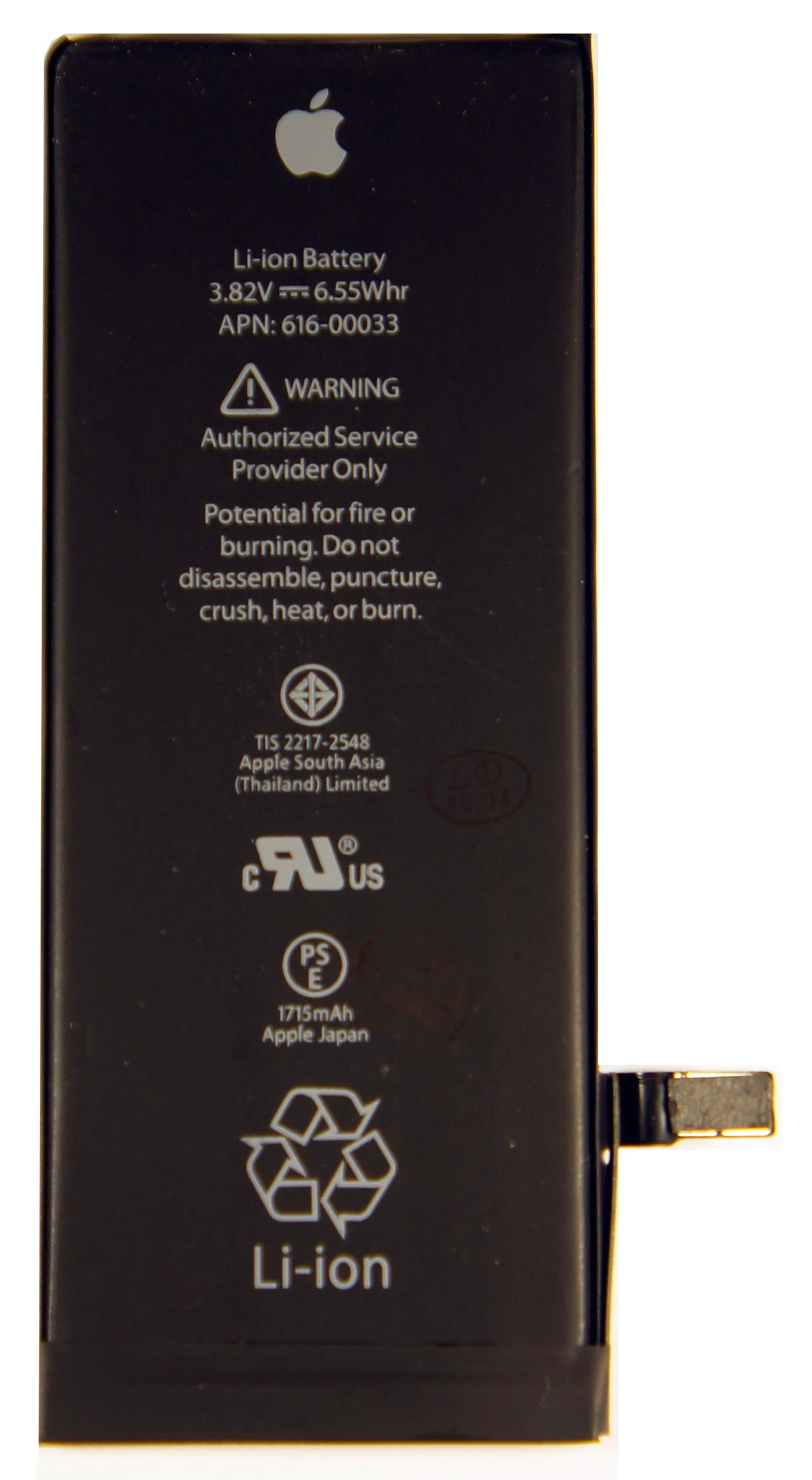 Аккумулятор для телефона Apple iPhone 6S (616-00033) 1715mAh аккумулятор для телефона craftmann для apple iphone 6 с повышенной ёмкостью до 2170 mah 616 0807