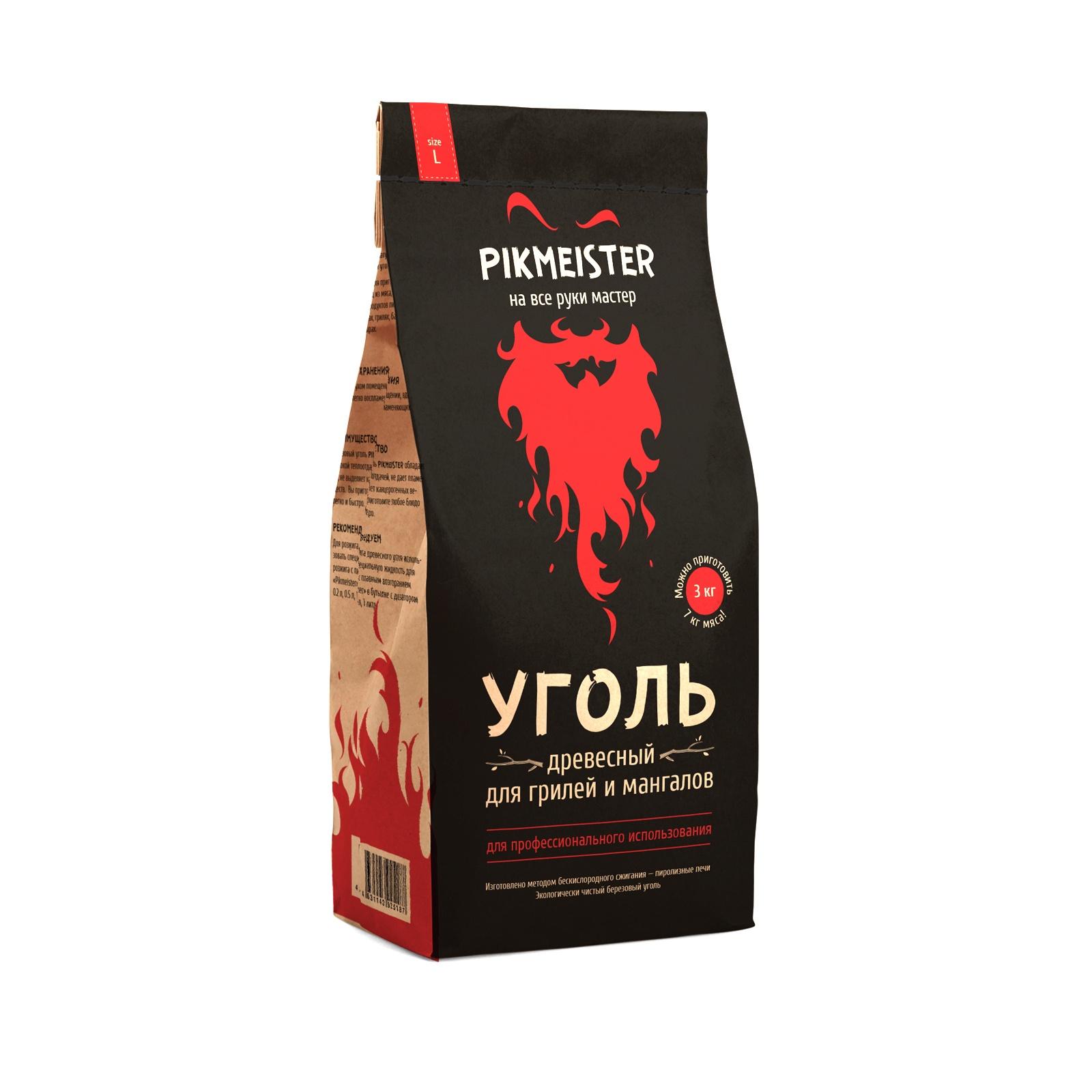 Уголь древесный Pikmeister L в пакете (3 кг, 20 л) уголь берёзовый сamping рalisad 3 кг