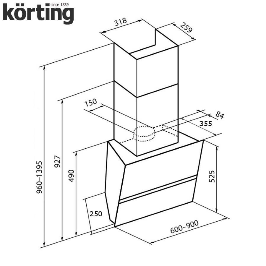 Наклонная вытяжка Korting KHC 69080 GW Korting