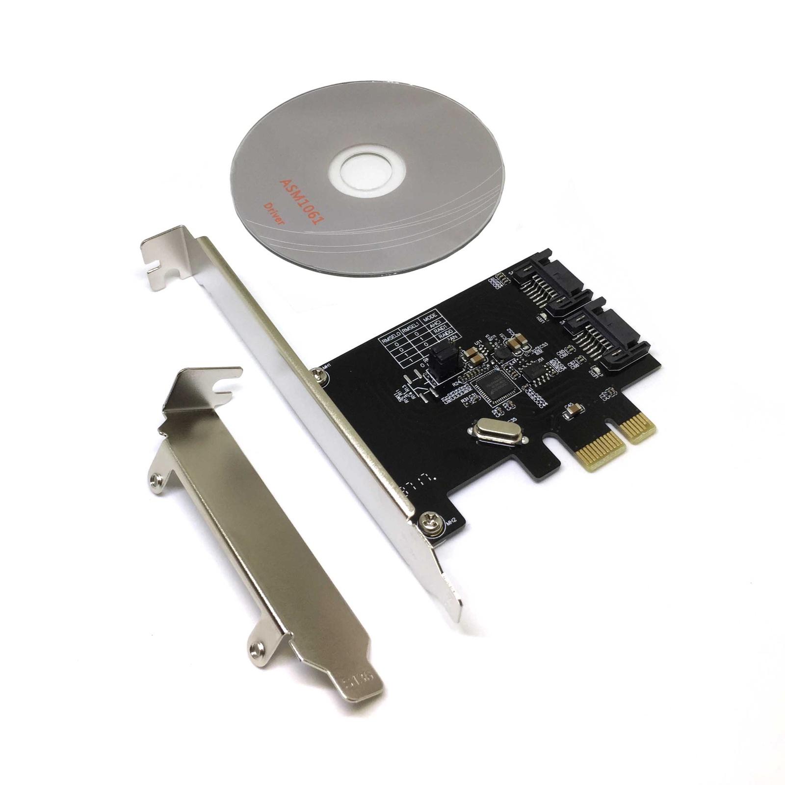 PCIe2SATA3ASM, Контроллер PCI-E 2.0 to 2 порта SATA3 (6Gb/s), RAID, чип ASM1061R, Espada