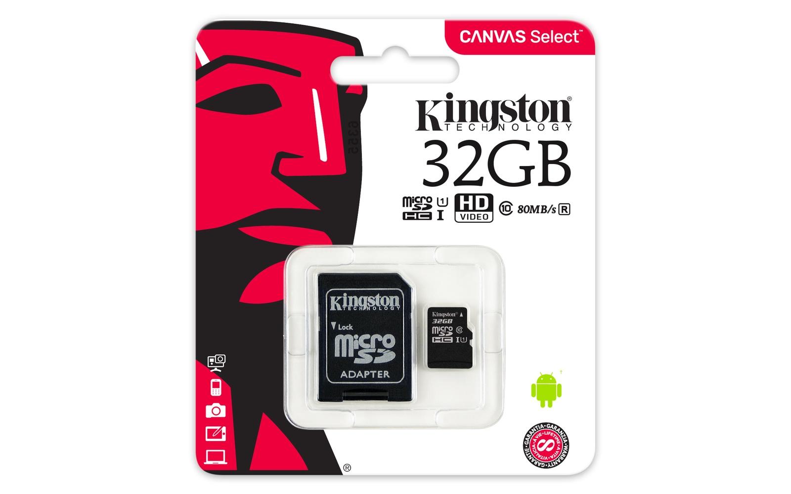 Карта памяти Kingston Canvas Select microSDHC Class 10 UHS-I U1 32GB + SD adapter (SDCS/32GB) карта памяти samsung 32gb uhs i u1