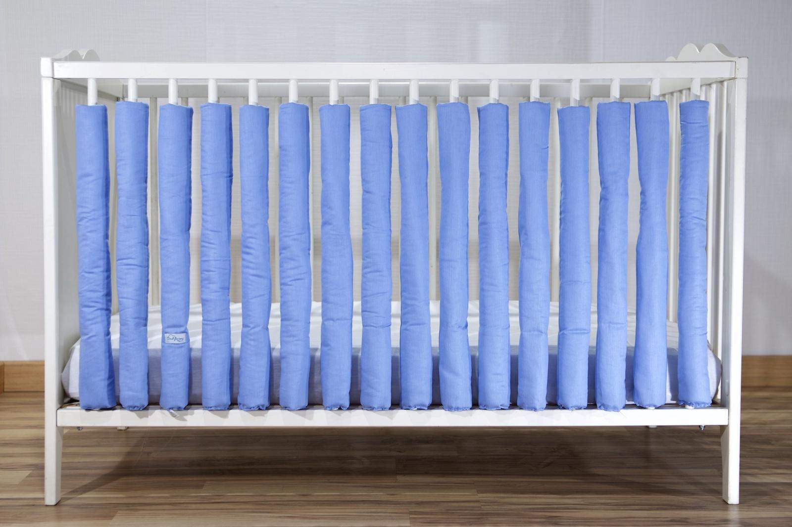 Бортик в кроватку Cloud Factory 12 фенс-бамперов Plain Blue