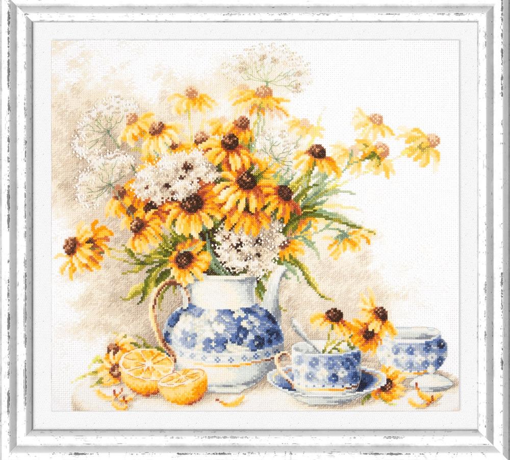 Цветочный чай. Набор для вышивания крестом (Magic needle / Чудесная игла) 40 х 35 см. набор для вышивания крестом чудесная игла цветочный чай 35 х 40 см