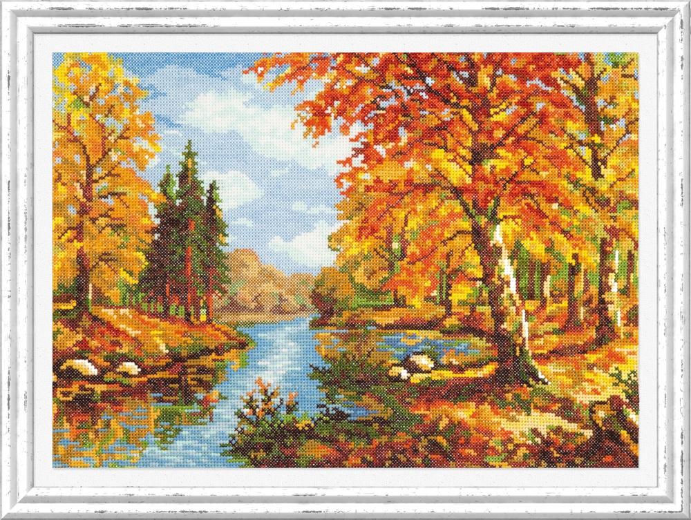 Золотая осень. Набор для вышивания крестом (Чудесная игла) 35 х 25 см. набор для вышивания крестом чудесная игла яркое сияние 8 х 11 см
