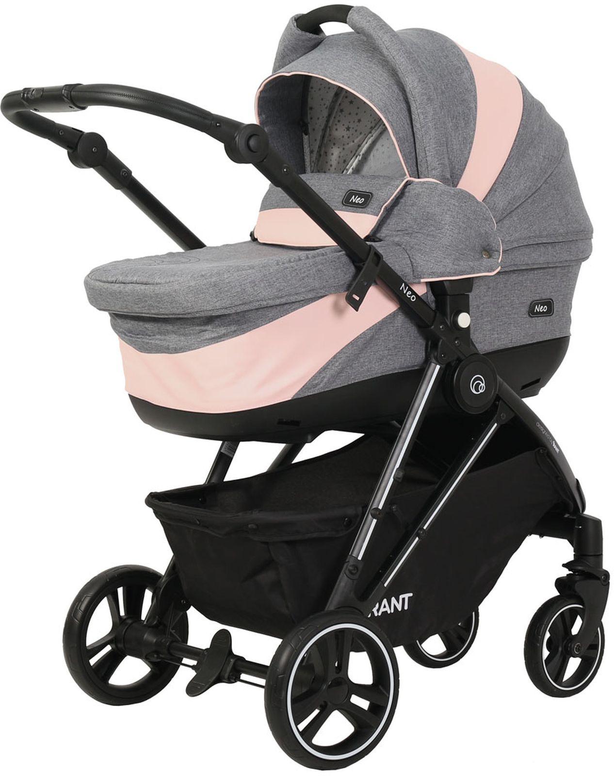 Коляска универсальная Rant Neo 2 в 1, 4630038413556, серый, розовый коляска 2 в 1 rant lotus blue