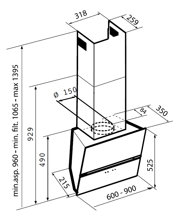 Наклонная вытяжка Korting KHC 99080 GB Korting