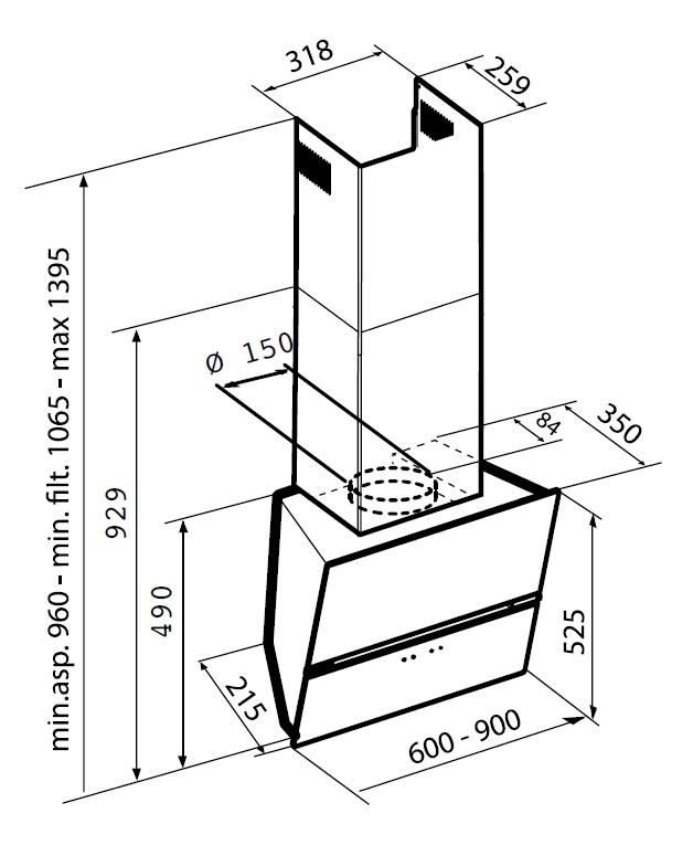 Наклонная вытяжка Korting KHC 99080 GW Korting