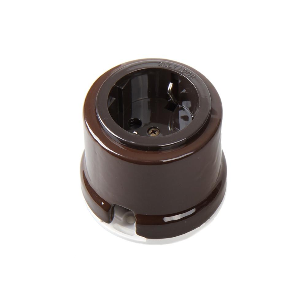 Розетка электрическая Salvador Ретро коричневая серия для наружного монтажа электрическая розетка siemens 10a