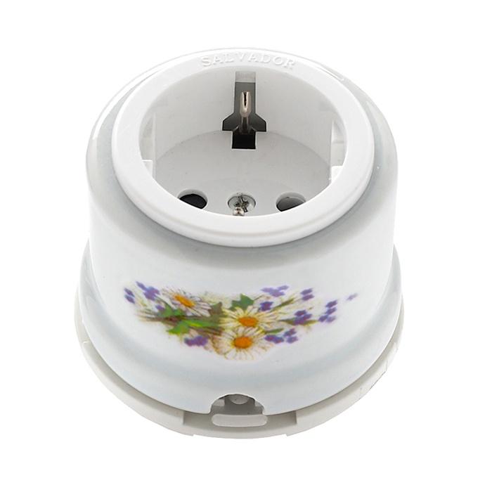 Розетка электрическая Salvador Ретро ромашка серия для наружного монтажа электрическая розетка siemens 10a